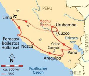 Übersichts-Karte Rundreise Peru